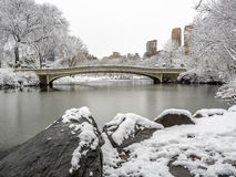 Central Park, New York City. The Bow Bridge  is a cast iron bridge located in Central Park, New York City, crossing over The Lake Royalty Free Stock Photography