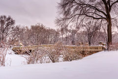 Central Park - New York City bow bridge after snow storm Stock Images