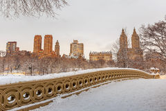 Central Park - New York City bow bridge after snow storm Stock Image