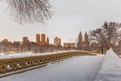 Central Park - New York City bow bridge after snow storm Stock Photo