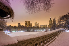 Central Park - New York City bow bridge after snow storm Royalty Free Stock Image