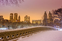 Central Park - New York City bow bridge after snow storm Royalty Free Stock Photo
