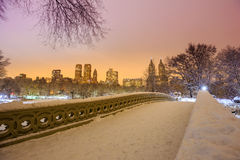 Central Park - New York City bow bridge after snow storm Stock Photography