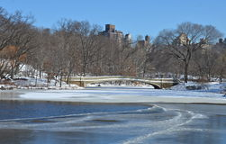 Central Park, New York City bow bridge in the wint Royalty Free Stock Photo