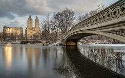 Central Park, New York City bow bridge. In winter Stock Photo