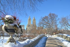 Central Park, New York City bow bridge in the winter. New York. Royalty Free Stock Photos