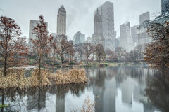 Central Park, New York City on foggy day Royalty Free Stock Photo