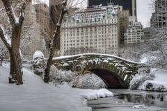 Central Park New York City Gapstow överbryggar Arkivbilder