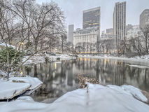 Central Park New York City häftig snöstorm royaltyfri bild