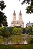 Central park in New York City Manhattan with trees and skyscrape Royalty Free Stock Photos