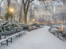 Central Park, New York City snow storm Royalty Free Stock Photography