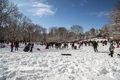 Central Park, New York City snow styorm Stock Photos