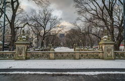 Central Park, New York City terrace bridge. Looking doiwn the Mall Stock Images