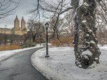 Central Park, New York City in winter stock images