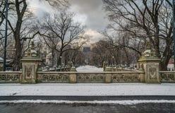 Central Park, New- York Cityterrassebrücke Stockbilder