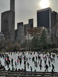 Central Park New York ice skating winter royalty free stock image