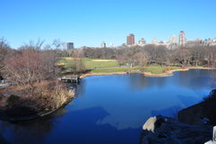 Central Park Lake New York autumn Stock Photography