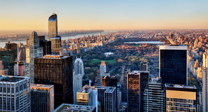 Central Park in New York at sunset Stock Images