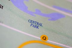 Central park, New York, United States. On map Stock Images