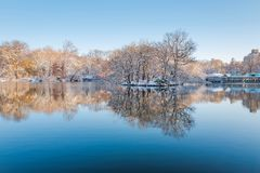 Central Park. New York. USA in winter covered with snow stock image