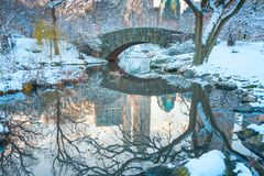 Central Park. New York. USA in winter covered with snow. Gapstow royalty free stock photos