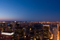 Central Park at night. Aerial view of Central Park in New York at night Stock Photography