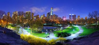 Central Park at Night Stock Photos