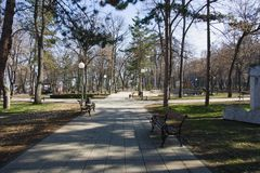 Central park in Niska Banja, spa resort in Serbia. Niška Banja Serbian Cyrillic: Нишка Бања is one of five city municipalities stock image