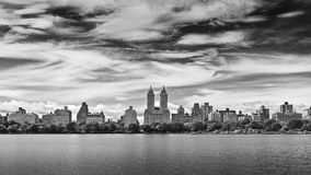 Central park NYC. Central park reservoir view on a cloudy day in black and white Stock Photo