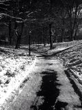 Central Park, NYC. Central Park path. Gothic feel to it Royalty Free Stock Photo