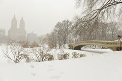 Central Park och pilbågebro i snön, New York Royaltyfria Bilder