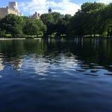 Central Park łodzi staw Obrazy Royalty Free