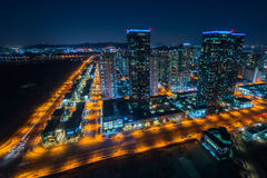 Central Park på natten Incheon, Sydkorea Royaltyfria Bilder