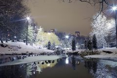 Central Park på natten NYC Arkivbild