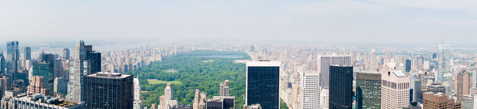 Central Park Panorama. A panoramic view of Central Park and New York, US Royalty Free Stock Image