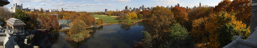 Central Park panorama from Belvedere Castle. Central Park Panorama (two hundred and seventy degree angle of view) looking North as seen from the top of the Royalty Free Stock Images