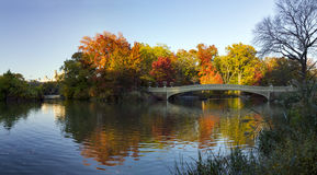 Central Park Panoramic Fall Landscape Scene in New York City Royalty Free Stock Image