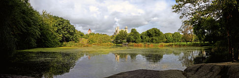 Central Park panoramic by turtle pond Stock Image