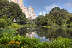 Central Park at the pond Stock Photo