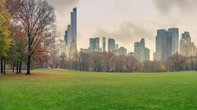 NY Central park at rainy day Royalty Free Stock Photo
