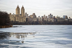 Central Park Reservoir. Winter Snow and Ice at the NYC Central Park Reservoir Stock Image