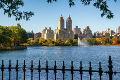 Central Park Reservoir and Upper West Side, fall foliage. Manhattan Royalty Free Stock Image