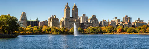 Central Park Reservoir, Upper West Side and Fall foliage. Manhattan Stock Images