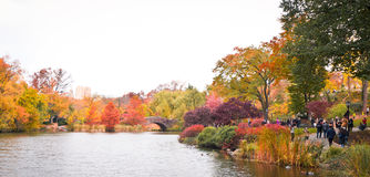 Central Park's Pond in the fall Royalty Free Stock Images