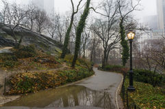 Central Park Sidewalk in early spring Royalty Free Stock Image