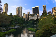 Central Park Skyline. View towards the Manhattan skyline from Central Park South stock photography