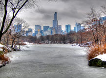 Central Park In Snow, Manhattan, New York City. A view of Manhattan from central park covered in snow, New York City stock images