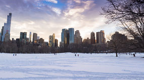 Central Park in the Snow with New York Skyline Stock Images