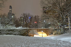 Central Park in the snow with skyline, Manhattan New York Royalty Free Stock Photo