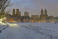 Central Park in snow after snowstorm, New York City Stock Photos
